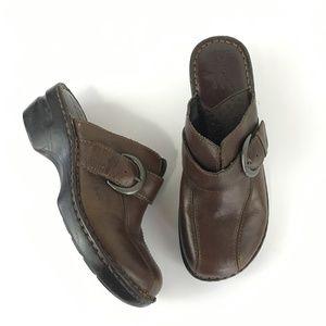 BOC Born brown leather slip on mules